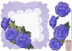 Lavender Battenburg Roses Card Front
