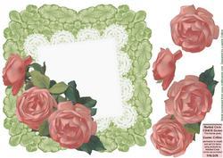 Peachy Pink Battenburg Roses Card Front