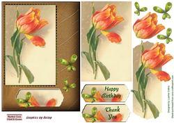 Butterfly Tulip Orange Card Topper