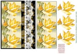 Lace and Yellow Roses Card Topper