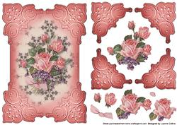 Rose and Violet Embossed Pink Corners Card Topper