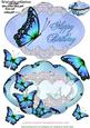 Delightful Blue Butterfly Shape Card