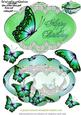 Delightful Green Butterfly Shape Card