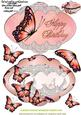 Delightful Peach Butterfly Shape Card
