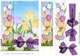 Tulip Border Card Front Purple Bow