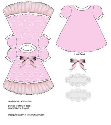 baby girl dress card cup151429 866 craftsuprint. Black Bedroom Furniture Sets. Home Design Ideas