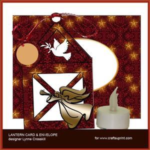 Trumpet Angel Lantern Card & Envelope
