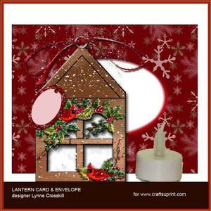 Cardinal & Berries Lantern Card & Envelope