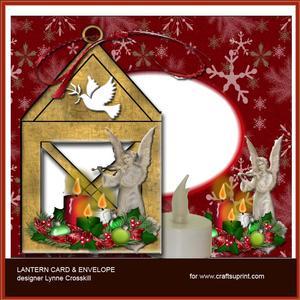 Golden Angel Lantern Card & Envelope
