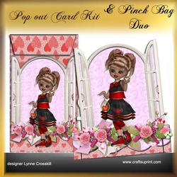 Popout Card & Pinch Bag Duo - Sweet Young Girl