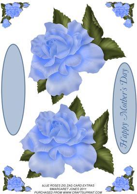 Blue Roses Zig Zag Card Extras