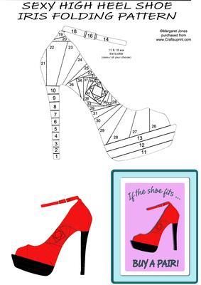 Sexy high heel shoe iris folding pattern cup407189 601 for High heel shoe template craft