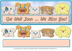 Five Dogs Large Dl - Get Well Soon Card