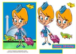 Flight Attendant Card - Birthday or Any Occasion