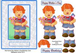 Red-haired Boy Mother's Day/birthday Card