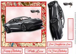 Aston Martin Birthday Card for 8x8