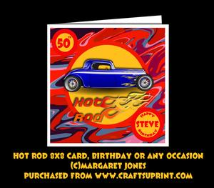 Hot Rod 8x8 Card Mini Kit, Birthday or Any Occasion