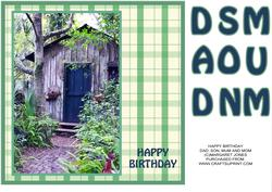 Old Shed 8x8 Birthday Card, Dad, Son, Mum or Mom