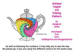 Elegant Vintage Teapot Iris Folding Pattern