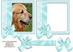 Dog in Turquoise Frame with Bow 8x8
