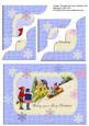 Vintage Christmas Card Corner Stacker, Children Toboganning