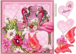 Flamingo Butterfly Bouquet Love Cardfront