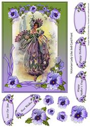 Victorian Lady Lilac Card Front Sheet