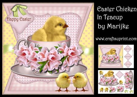 Easter Chicken in Teacup Pastel - CUP672156_936 | Craftsuprint