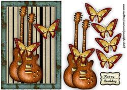 Male Card Music & Steampunk Butterflies
