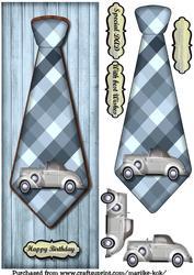 Large Dl Male Card Vintage Car Tie
