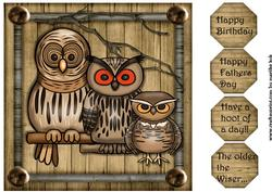 Male Card Topper Wise Owls