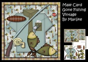 Male Card Gone Fishing Vintage Mini Kit