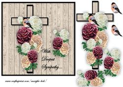 Sympathy Cross & Antique Roses