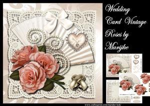 Wedding Card Vintage Roses Mini Kit