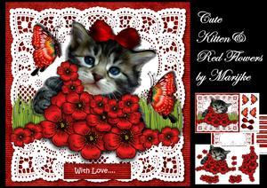 Cute Kitten & Red Flowers Mini Kit