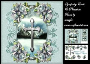 Sympathy Silver Cross & Porcelain Roses Mini Kit