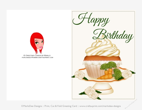 carrot cake cupcake pretty 5x7 print cup fold birthday card