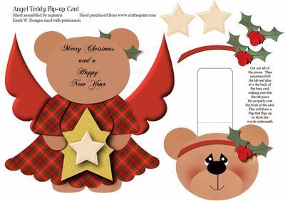 Christmas Angel Teddy Flip-up Card