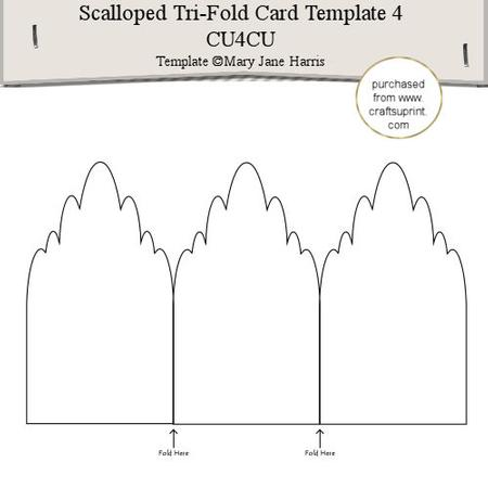 scalloped tri fold card template 4 cu4cu cup291573 99 craftsuprint. Black Bedroom Furniture Sets. Home Design Ideas