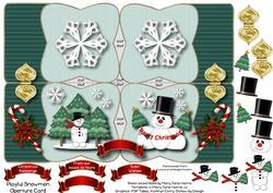 Playful Snowmen Aperture Card