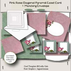 Pink Rose Diagonal Pyramid Easel Card Kit