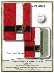 Santa Suit Off-center Gatefold Card Kit