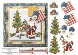 Patchwork Santa Christmas Card Topper