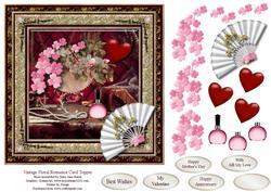 Vintage Floral Romance Card Topper