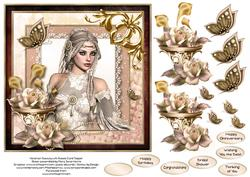Victorian Beauty with Roses Card Topper 2