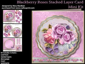 Blackberry Roses Stacked Layer Card Mini Kit
