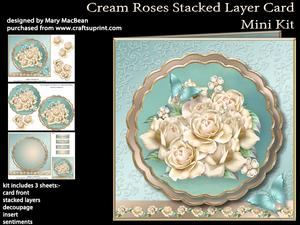 Cream Roses Stacked Layer Card Mini Kit