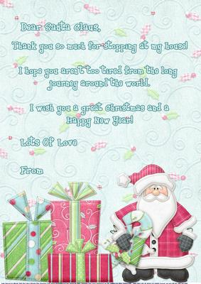 santa thank you letters