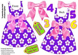 Floral Dress-shaped Card - Pink/purple