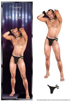 male stripper th birthday large dl card  cup, Birthday card
